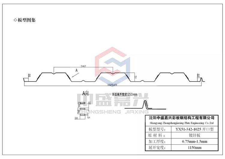 1025楼承板生产厂家-YX51-342-1025型楼承板